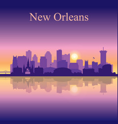 new orleans silhouette on sunset background vector image