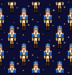 nutcracker toy red xmas seamless pattern vector image