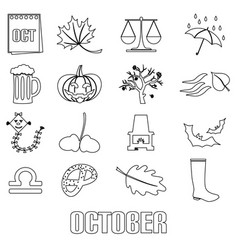 october month theme set of outline icons eps10 vector image