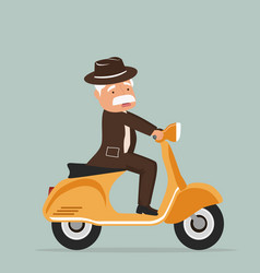 old man riding scooter vector image
