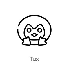 Outline tux icon isolated black simple line vector