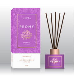 Peony home fragrance sticks abstract label vector