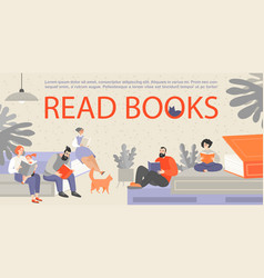 people sitting on huge books and reading vector image