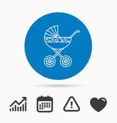 pram icon newborn stroller sign vector image