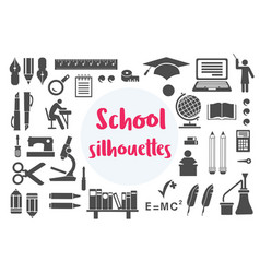 Retro school monochrome silhouettes object subject vector