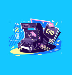 retro vintage camera with instant snapshots vector image