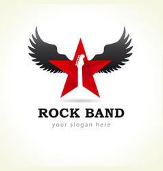 rock star flying logo vector image