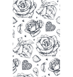 seamless pattern with hand drawn vintage valentine vector image