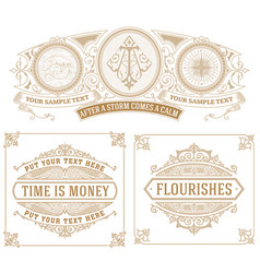 Set of 3 vintage cards vector