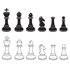 Set of Chess Icons in Black and White vector image