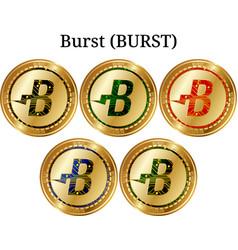 Set of physical golden coin burst burst vector