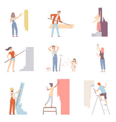set with people painting the wall men women and vector image