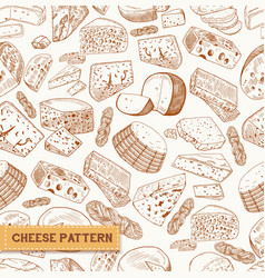 Sketch seamless pattern of cheese product vector