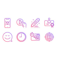 smile certificate and time icons set brand vector image