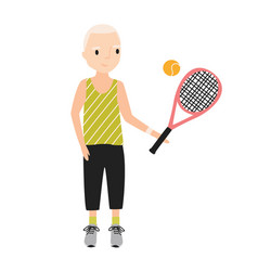 smiling boy dressed in sportswear holding tennis vector image