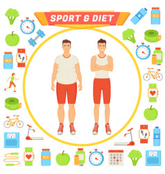 sport and diet male poster vector image