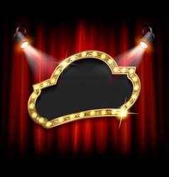 stage curtain inside a wide frame with lamps vector image