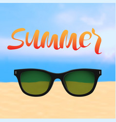 Summer poster with lettering and beach with vector
