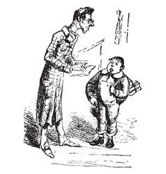Teacher and pupil vintage vector
