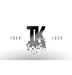 Tk t k pixel letter logo with digital shattered vector