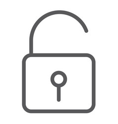 unlock line icon security and padlock lock sign vector image