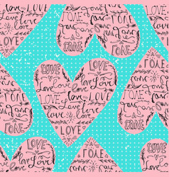 valentines seamless pattern with heart and love vector image