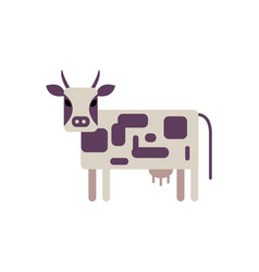 white and violet spotted cow in flat style vector image