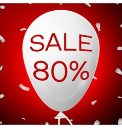 White Baloon with text Sale 80 percent Discounts vector image