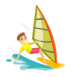 white man rushing on a windsurfing board vector image