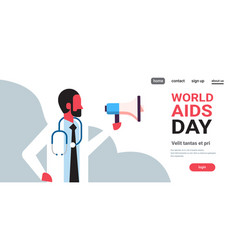 World aids day awareness male doctor hold vector