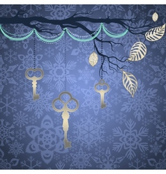Blue vintage background with silver leaves and key vector image vector image