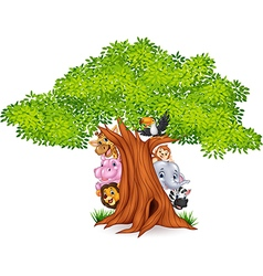 Cartoon african animals with tree vector image