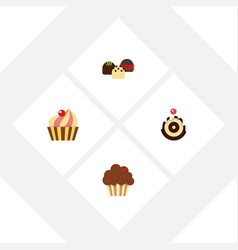 flat cake set of pastry cake muffin and other vector image vector image