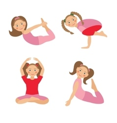 kid yoga positions vector image