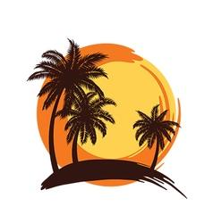 Plam tree sunset vector image