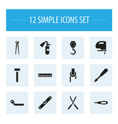 set of 12 editable tools icons includes symbols vector image