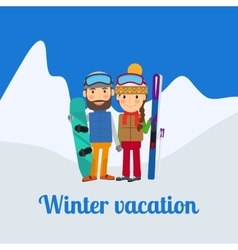 Winter sport couple on vacation vector image