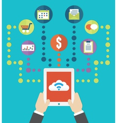 Cloud service and mobile device vector image