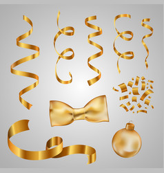 collection of gold ribbons golden confetti vector image