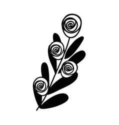 Contour rose with leaves branch plant vector