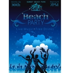 Evening beach background with dancing people vector image