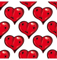 Red Valentines hearts seamless pattern vector image vector image