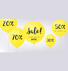 flying balloons concept of sale for shops yellow vector image