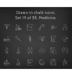 Medicine icon set drawn in chalk vector