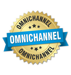Omnichannel round isolated gold badge vector