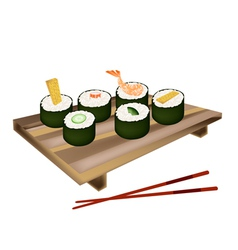 Set of Sushi Roll or Makizushi on White vector image vector image