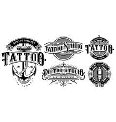 Set of vintage tattoo emblems version for white vector