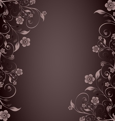 flower ornament on brown background vector image