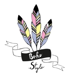 Hand drawn bird feathers with ribbon vector image