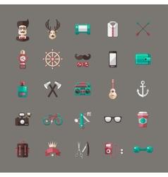 Set of modern flat design hipster icons vector image